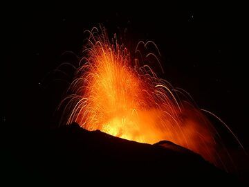 Photographs taken by volcanologist Dr Ingrid Smet when she observed Stromboli's volcanic activity from 24 to 26 July 2019. During this time span, the volcano remained at a level of higher than usual activity with very frequent Strombolian explosions.  Some of these were so strong that at night one could observe the glowing bombs from the village. The lava flows that occurred after the 3 July paroxysm were also still active on the upper parts of the western edge of the Sciara. See also: Eyewitness report of the activity (Photo: Ingrid)