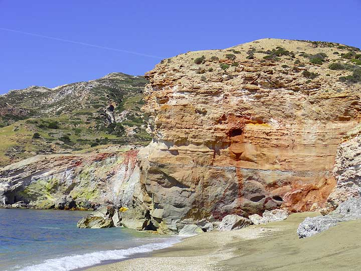 Colorful hydrothermally altered rocks at Paleochori, Milos Island (Greece) (Photo: Isabelle Ammon Saugy)