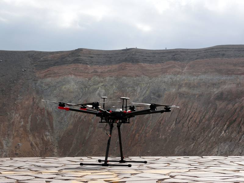 Drone ready to take gas measurements in the crater of Fossa, Vulcano island, Italy (Photo: Janka)