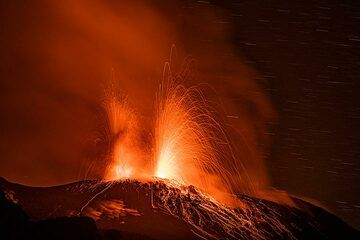 Strombolian eruptions from two of the eastern vents (Photo: Markus Heuer)