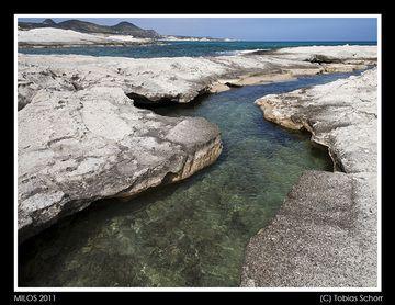 Sea channel carved by wave erosion into ash deposits on Milos Island, Greece, near Sarakiniko. (Photo: Tobias Schorr)