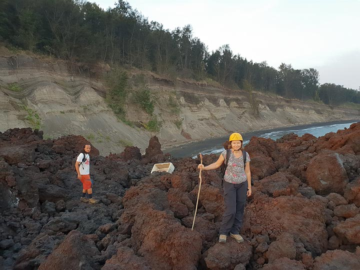 Marina on the 2013 lava flow (Photo: Ronny Quireyns)