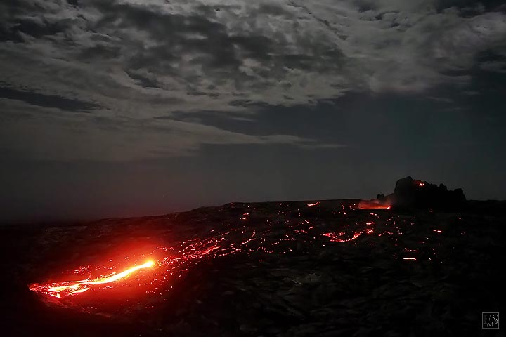 Active lava breakout from the new lava shield on the southern rift zone (Erta Ale volcano flank eruption, February 2017) (c)