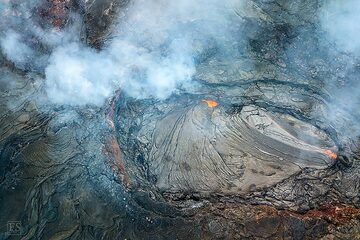 Aerial view of the large lava lake that has formed at Erta Ale's fissure eruption site (c)