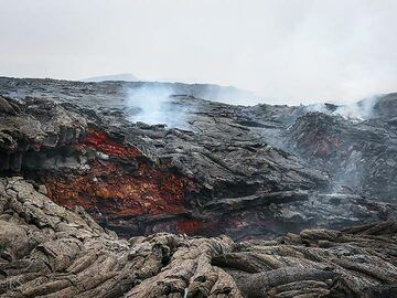 View across part of the new and still active lava fields on Erta Ale's flank eruption site (c)
