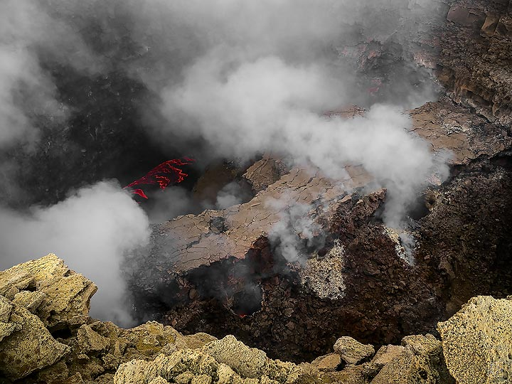 The famous lava lake in the south crater of Erta Ale's summit caldera is now 10s of meters below the rim after magma drained away and parts of the crater walls collapsed in January 2017 (c)