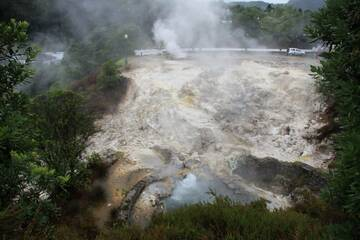 Hot springs and fumarols in the center of Furnas, Sao Miguel Island, Azores (Photo: WNomad)