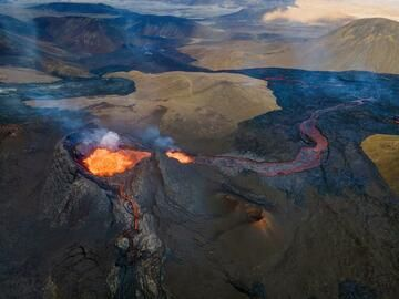 Aerial view over the active cone and lava flow towards adjacent Meradalur valley. (Photo: World-Geographic)