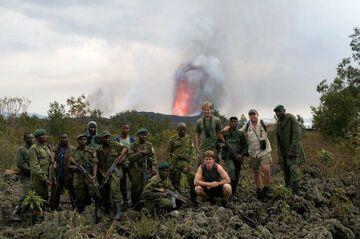 Group at the active vent of Nyamuragira volcano (DR Congo) in Nov 2011 (Photo: Gian Schachenmann)