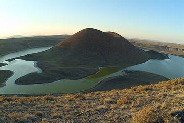 "Volcano lake Meke Golu (""Smelling Lake"") seen from SE (Karapinar volcano field, Turkey) (Photo: marcofulle)"