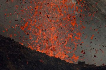 Zoom into the core of the lava fountain from an eruption of the NE crater of Stromboli volcano (from Bastimento, 15 May 2012) (Photo: marcofulle)