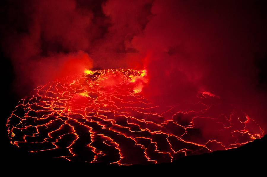 The surface of the lava lake of Nyiragongo - an ever changing Kaleidoscope of patterns. (Photo: shinkov)