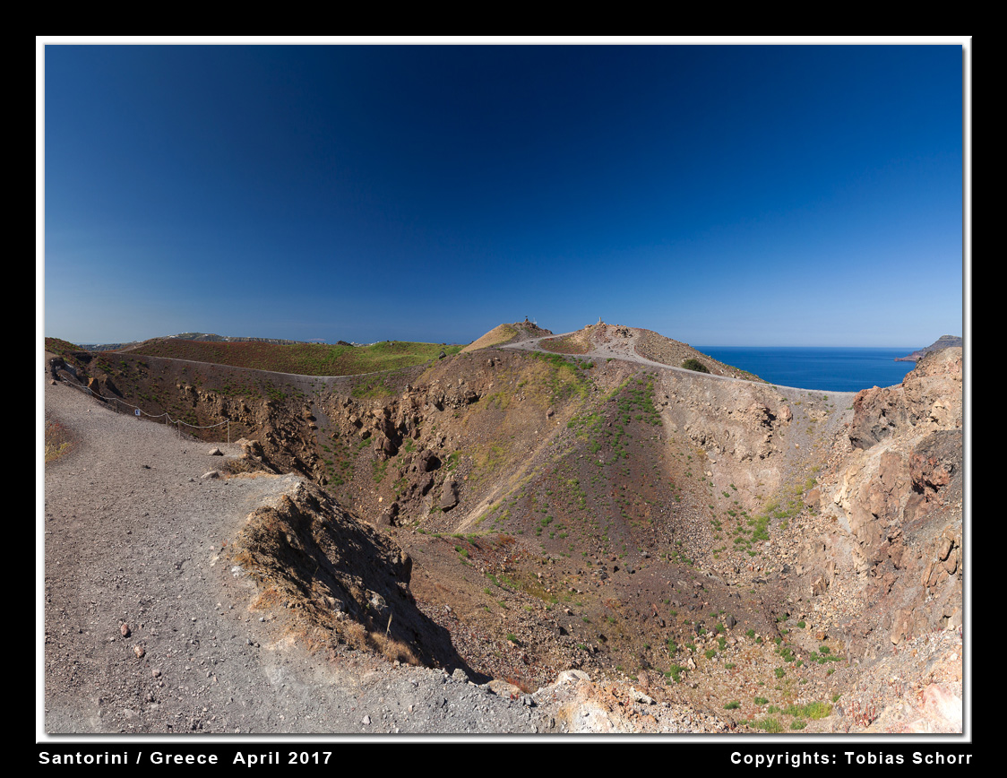 Georgios crater on Nea Kameni Island in spring (Santorini volcano, Greece)  (Photo: Tobias Schorr)