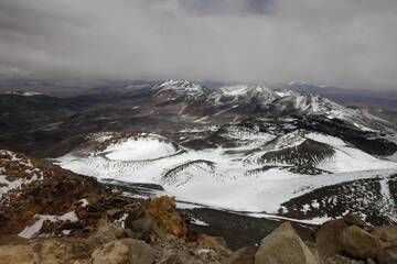View from the highest Volcano in the world: Snow-covered craters (Photo: ulla)