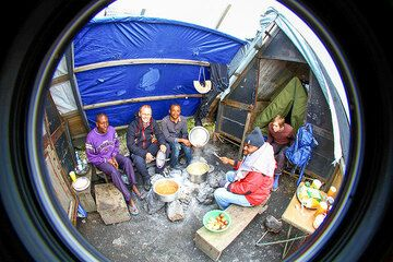 Our group in the camp kitchen. (Photo: Yashmin Chebli)