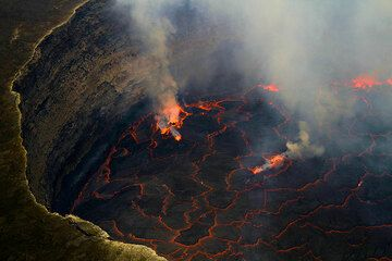 Part of the lava lake as seen in daylight (Photo: Yashmin Chebli)