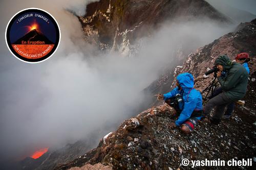 Our group observing the lava lake inside Niri-Mbwelesu crater (Photo: Yashmin Chebli)