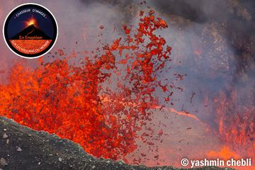 Lava fountain from the lava lake in Benbow's crater (Photo: Yashmin Chebli)