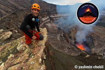 Expedition leader volcanologist Yashmin Chebli inside Benbow crater (Photo: Yashmin Chebli)