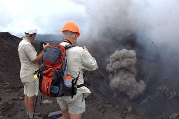 Observing the activity from the crater rim (Photo: Yashmin Chebli)