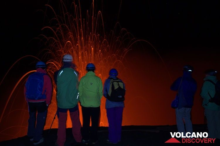 Our group observing the activity of Yasur volcano at night (Tanna Island, Vanuatu) (Photo: Yashmin Chebli)