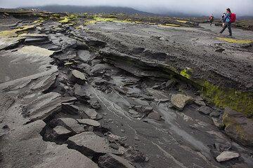 Bizarre erossion structures of the ash plain in the Ambrym caldera. (Photo: Tom Pfeiffer)