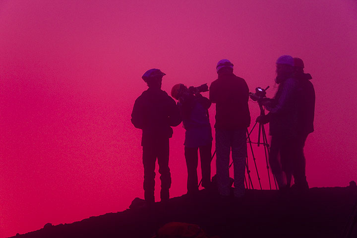 Our group observing the volcanic action beneath them. (Photo: Tom Pfeiffer)