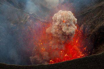 Die Explosion wirft Strahlen von glühender Lava und einen dichten Ascheball aus. (Photo: Tom Pfeiffer)