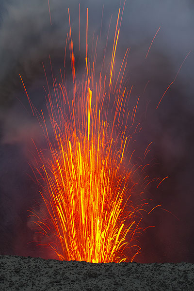 Lava shooting into the air from an explosion. (Photo: Tom Pfeiffer)