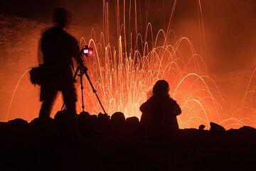 Taking photos of strombolian eruptions at Yasur (Photo: Tom Pfeiffer)