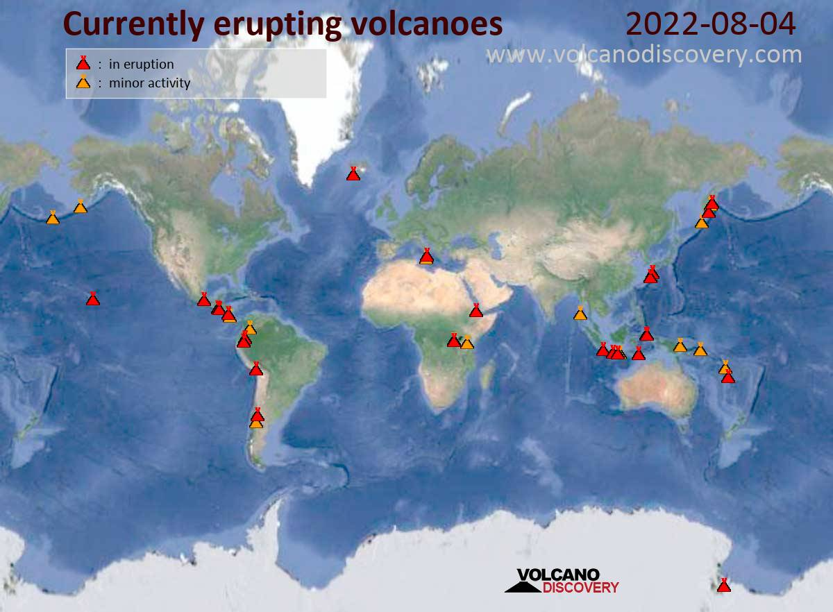 Currently active volcanoes in the world (in eruption: red; minor activity or eruption warning: orange)