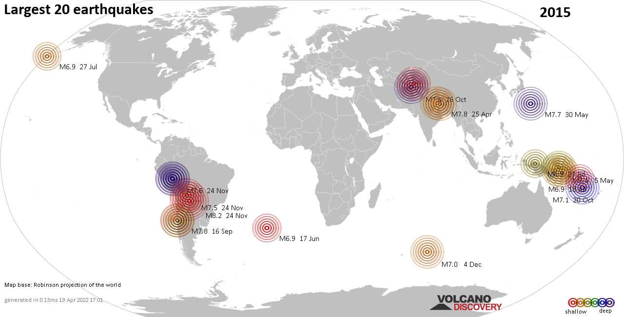 List, maps and statistics of the 20 largest earthquakes in 2015
