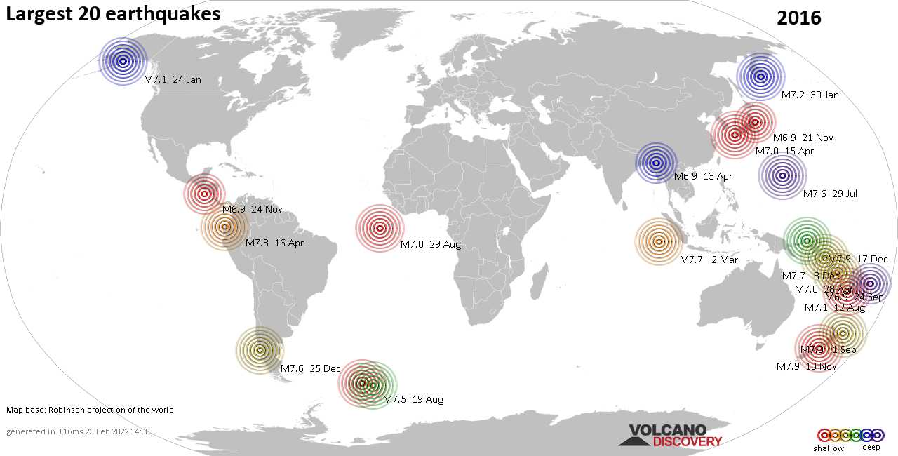 List, maps and statistics of the 20 largest earthquakes in 2016