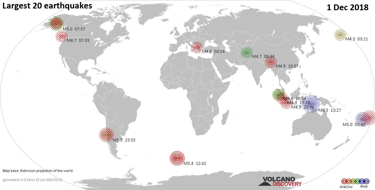 List, maps and statistics of the 20 largest earthquakes on Saturday,  1 Dec 2018