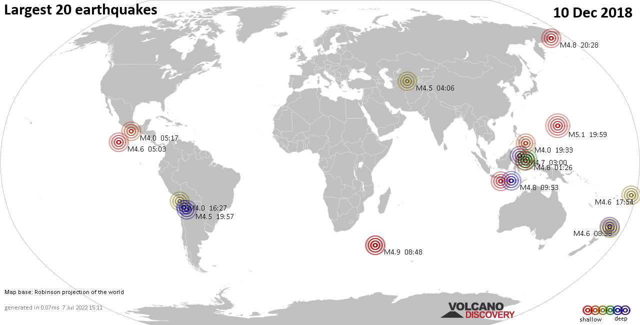 List, maps and statistics of the 20 largest earthquakes on Monday, 10 Dec 2018