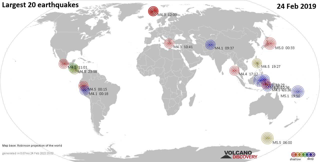 List, maps and statistics of the 20 largest earthquakes on Sunday, 24 Feb 2019