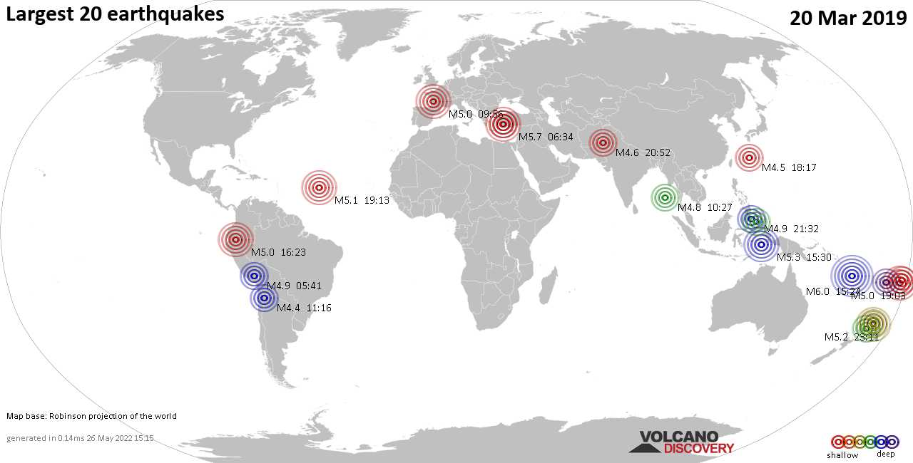 List, maps and statistics of the 20 largest earthquakes on Wednesday, 20 Mar 2019