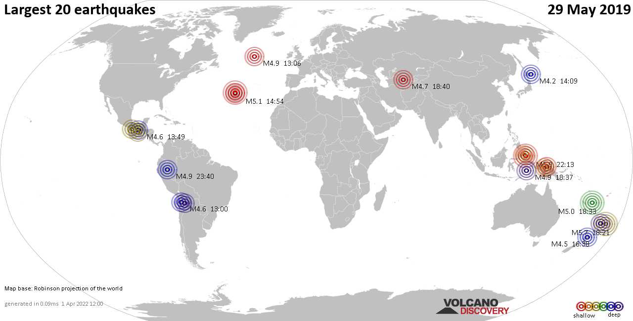List, maps and statistics of the 20 largest earthquakes on Wednesday, 29 May 2019
