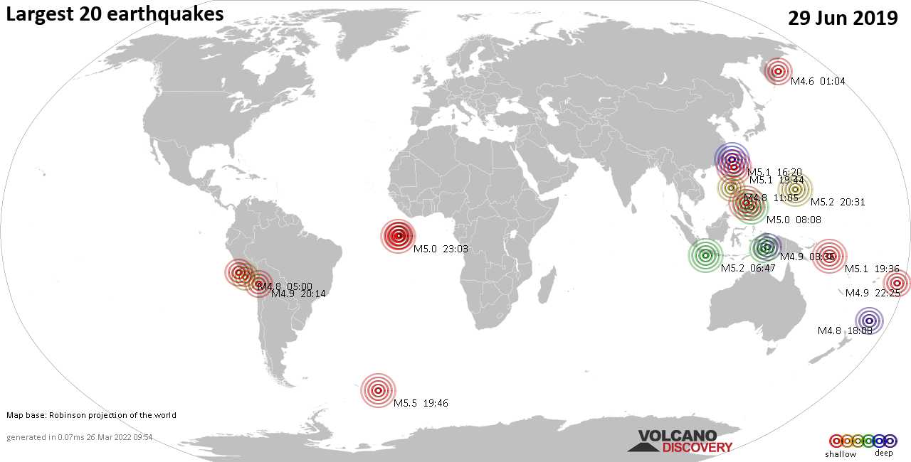 List, maps and statistics of the 20 largest earthquakes on Saturday, 29 Jun 2019