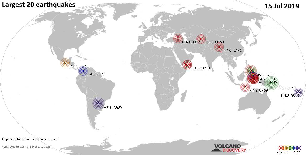 List, maps and statistics of the 20 largest earthquakes on Monday, 15 Jul 2019