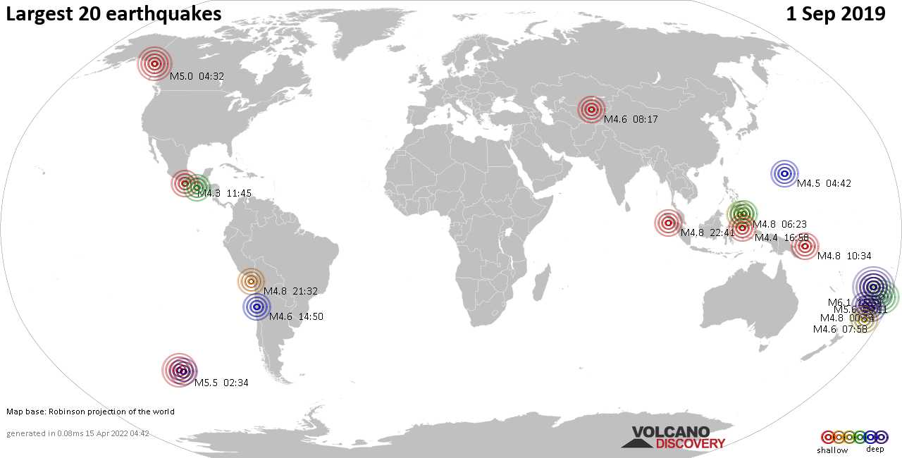 List, maps and statistics of the 20 largest earthquakes on Sunday,  1 Sep 2019