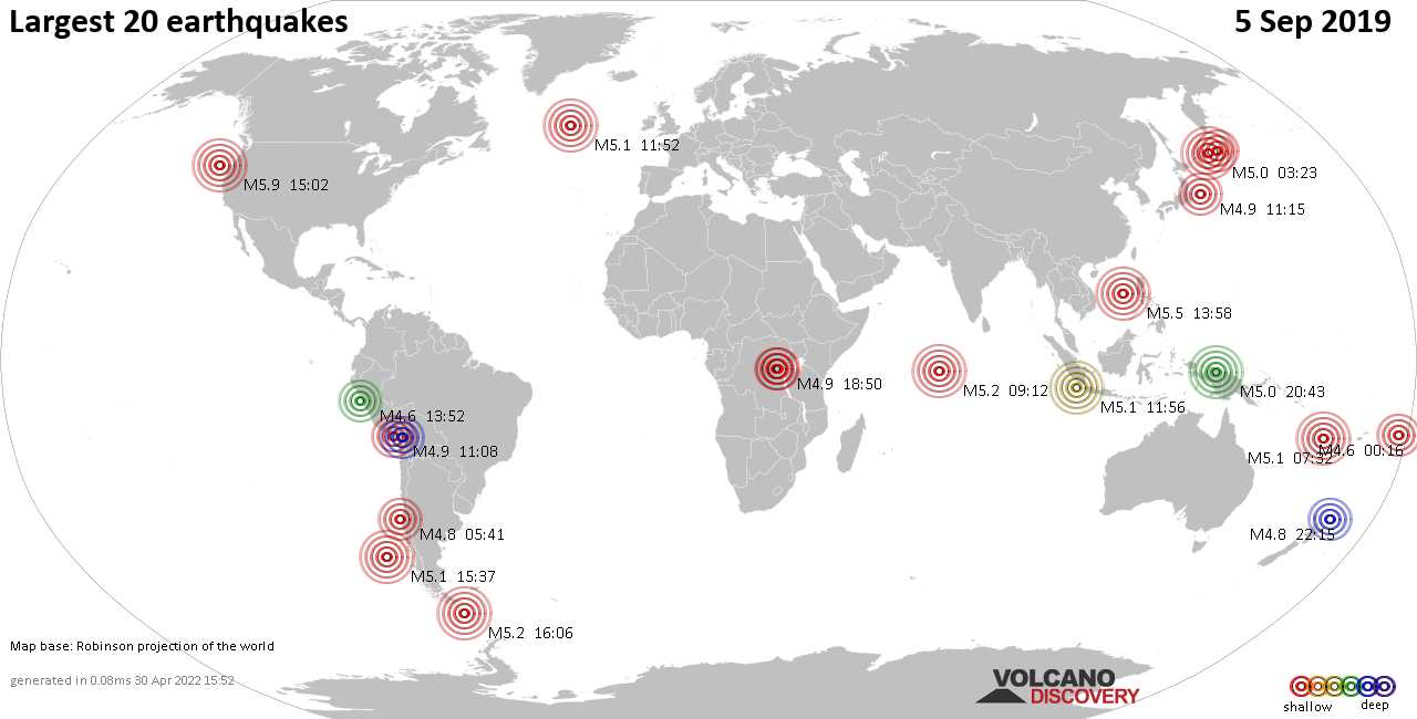 List, maps and statistics of the 20 largest earthquakes on Thursday,  5 Sep 2019