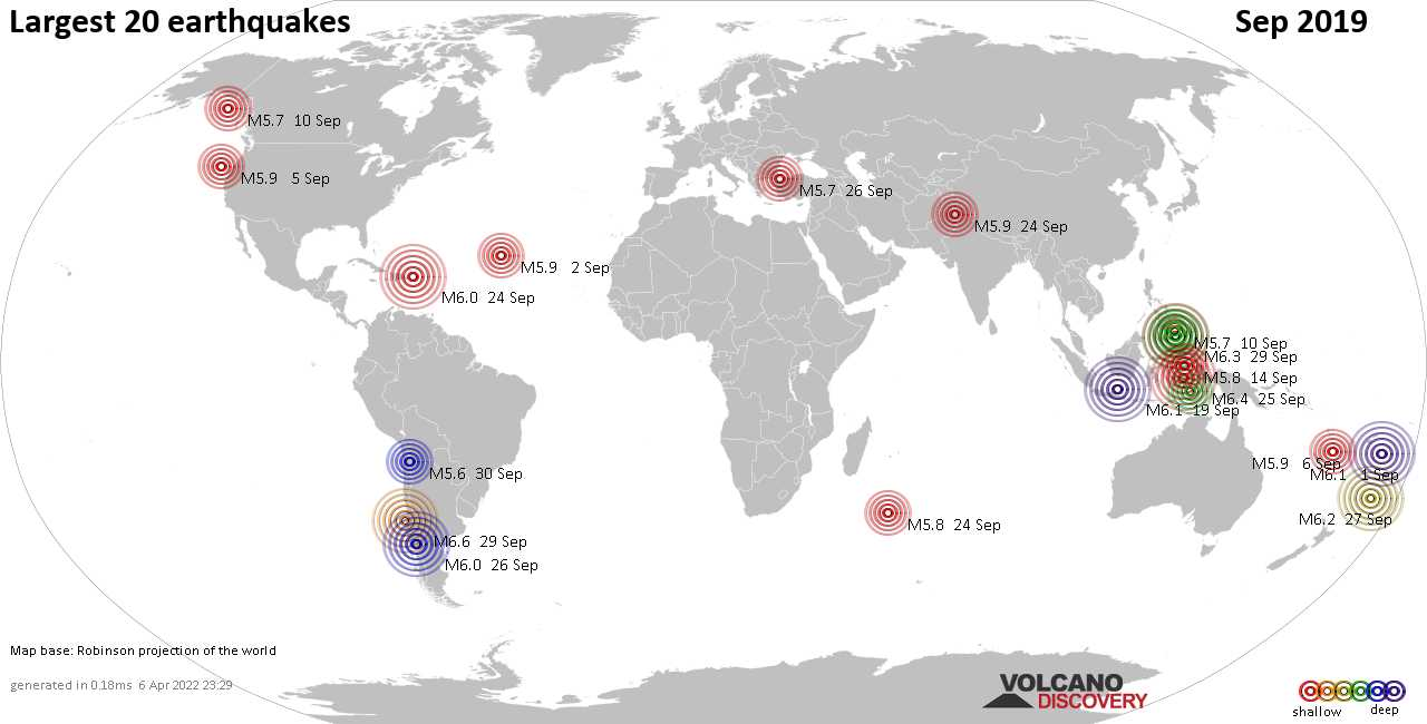 List, maps and statistics of the 20 largest earthquakes in Sep 2019