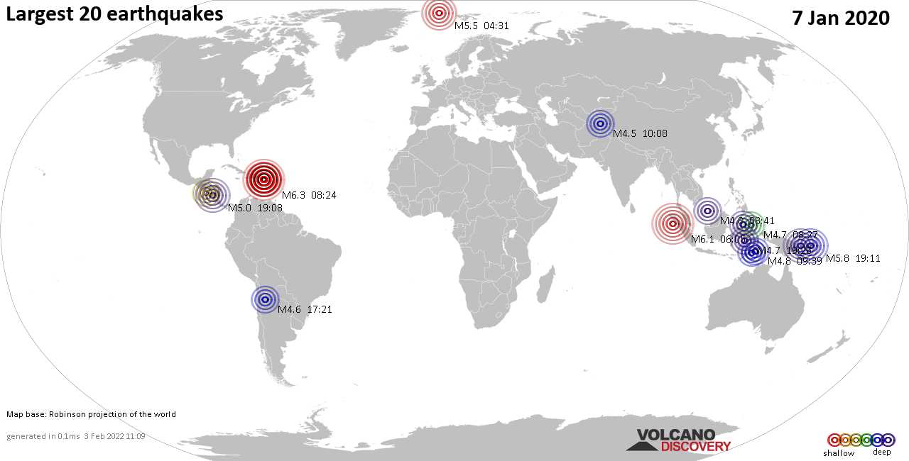 List, maps and statistics of the 20 largest earthquakes on Tuesday,  7 Jan 2020