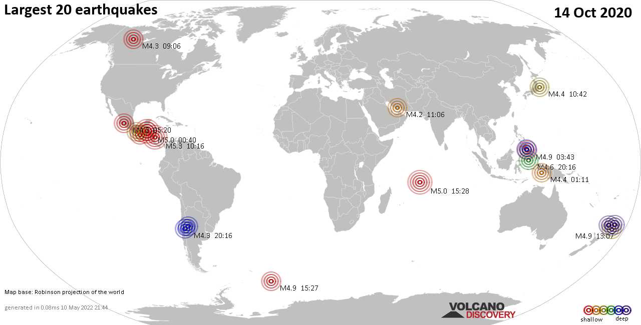 List, maps and statistics of the 20 largest earthquakes on Wednesday, 14 Oct 2020