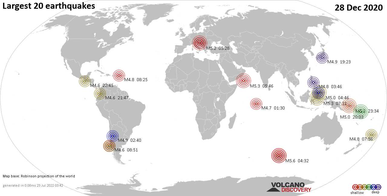 List, maps and statistics of the 20 largest earthquakes on Monday, 28 Dec 2020