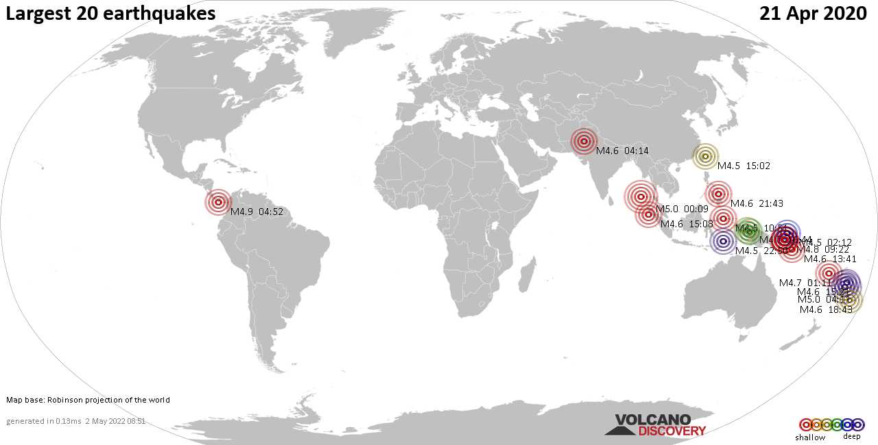 List, maps and statistics of the 20 largest earthquakes on Tuesday, 21 Apr 2020