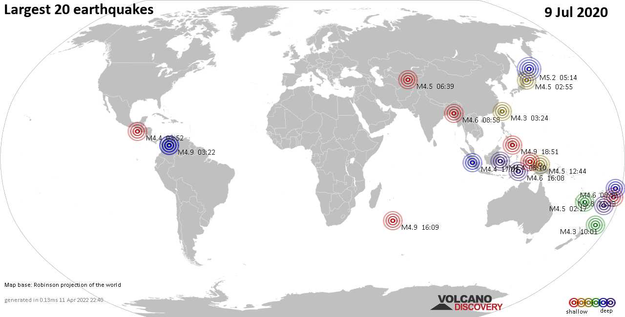 List, maps and statistics of the 20 largest earthquakes on Thursday,  9 Jul 2020