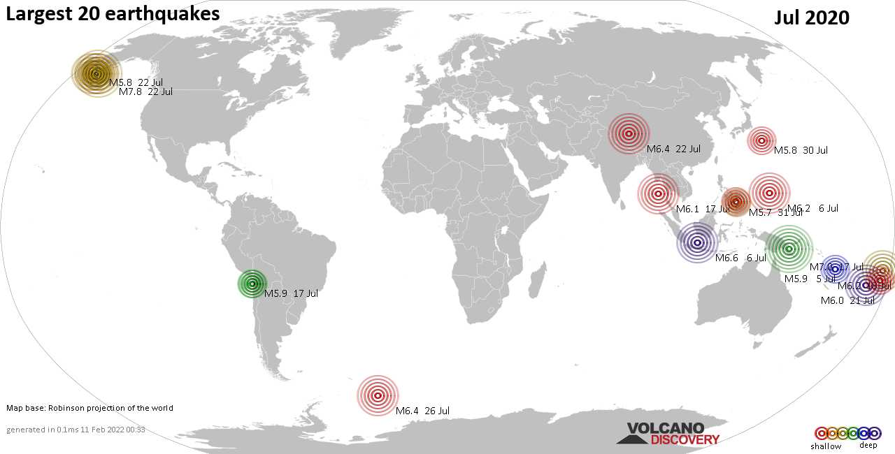 List, maps and statistics of the 20 largest earthquakes in Jul 2020