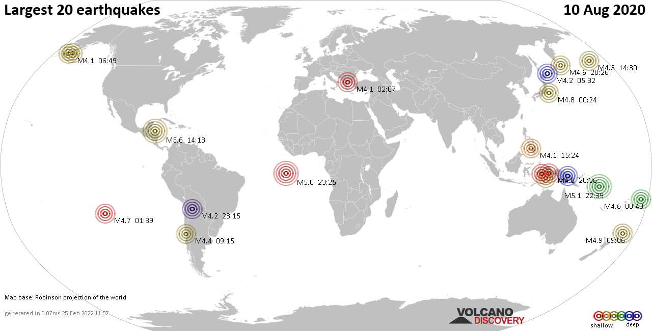 List, maps and statistics of the 20 largest earthquakes on Monday, 10 Aug 2020